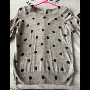 Cute grey sweater with black polka dots